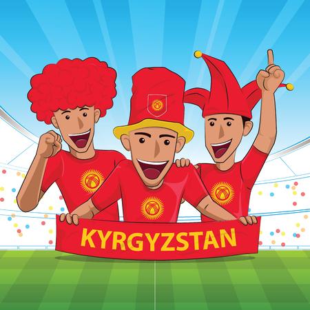 Kyrgyzstan Flag. Cheer football support Vector illustration. Vectores