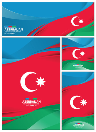 Azerbaijan flag abstract colors background. Collection banner design. brochure vector illustration. Stock Illustratie