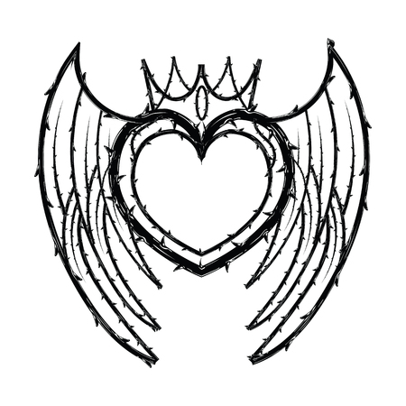 Heart crown shape of thorns, border for the Lent season, graphic element, black and white vector illustration.