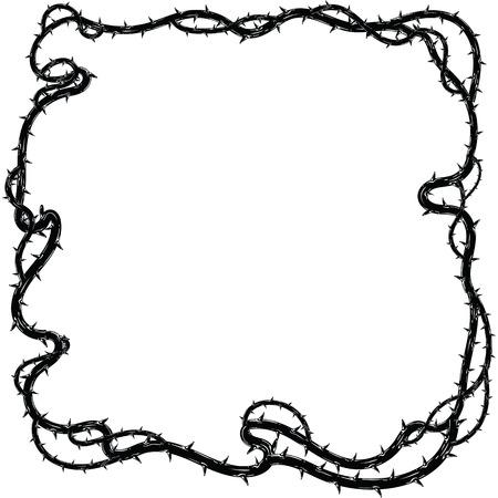 Frame of thorns, border for the Lent season, graphic element, black and white vector illustration.