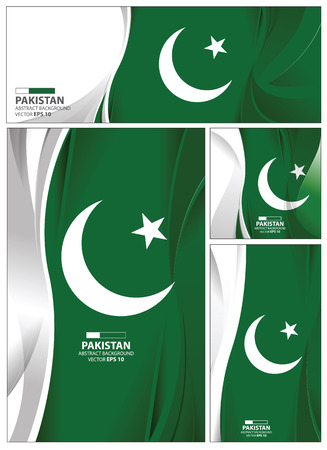 Pakistan flag abstract colors background. Collection banner design. brochure vector illustration. 向量圖像