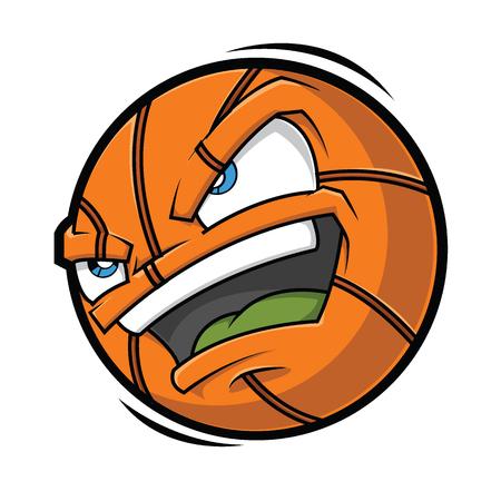 Basket-ball avec visage en colère, illustration de vecteur de dessin animé. Vecteurs