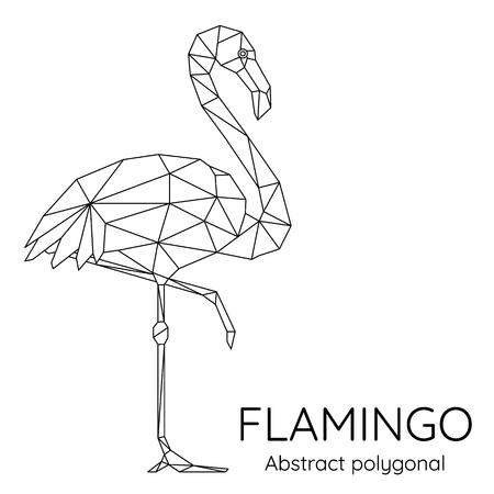 Abstract Polygonal geometric flamingo. Animal linear isolated vector illustration. 矢量图像