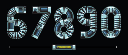 Vector graphic numbers in a set 1,2,3,4,5 with Hydraulic comic font style
