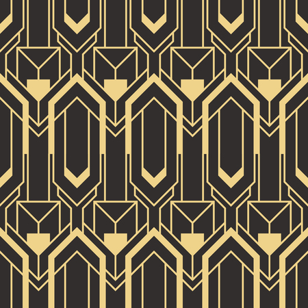 Modello moderno di piastrelle geometriche di vettore. forma foderata d'oro. Fondo di lusso senza cuciture di art deco astratto.