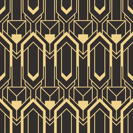 Vektor moderne geometrische Fliesen Muster. golden gefütterte Form. Nahtloser Luxushintergrund des abstrakten Art Deco.