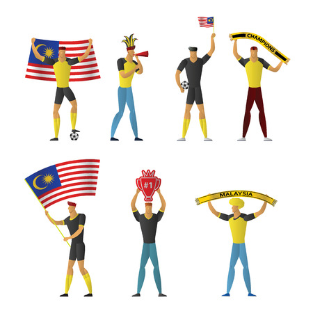 Malaysia football fans. Cheerful soccer supporters crowd. vector illustration.