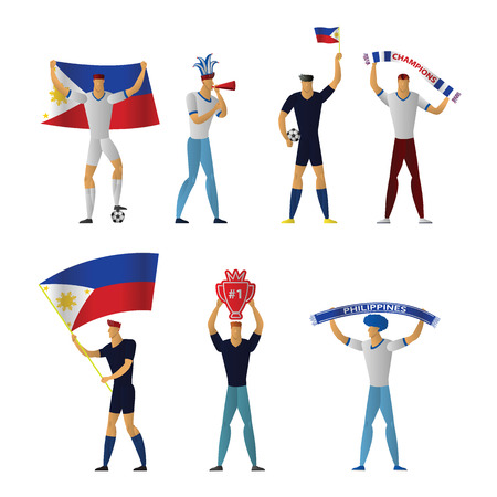 Philippines football fans. Cheerful soccer supporters crowd. vector illustration. 版權商用圖片 - 127237258