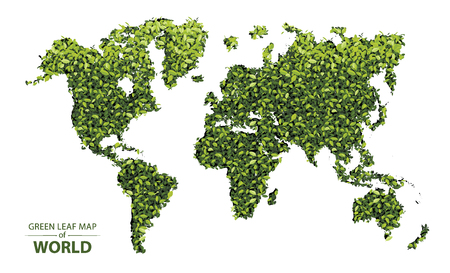 World map made up of green leaf on white background vector  illustration of a forest is conceptual of the global green environmental issues worldwide  イラスト・ベクター素材
