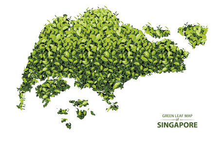 Singapore map made up of green leaf on white background vector  illustration of a forest is conceptual of the global green environmental issues worldwide