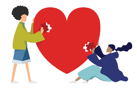 Young people are helping each other to jigsaw puzzles. valentine day. cartoon vector illustration.