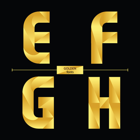 Vector graphic alphabet in a set E,F,G,H, with golden color geometric luxury style