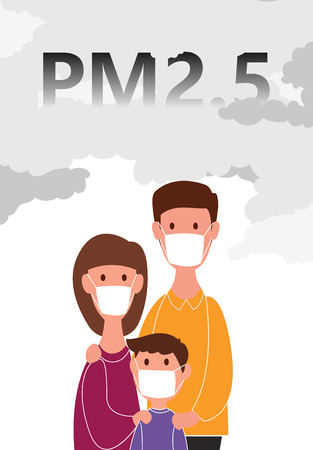 Family wearing a dust mask N95 for protection minute dust PM2.5 on white background with concepts. vector illustration. Illustration