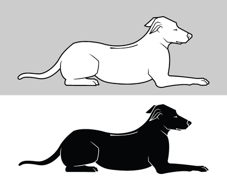 Vector black silhouette and outline of a dog isolated on a white background. Illustration