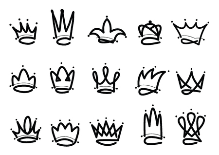 Crown logo hand drawn icon. Black doodle elements isolated on white background. Vector illustration.