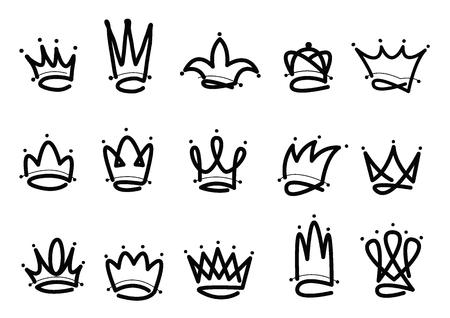 Krone Logo handgezeichnete Symbol. Schwarze Doodle-Elemente isoliert auf weißem Hintergrund. Vektor-Illustration. Logo