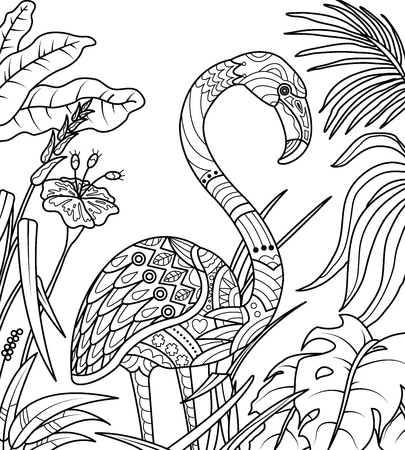 Flamingo Coloring page, vector illustration for adult Coloring books or tattoos isolated on white background.