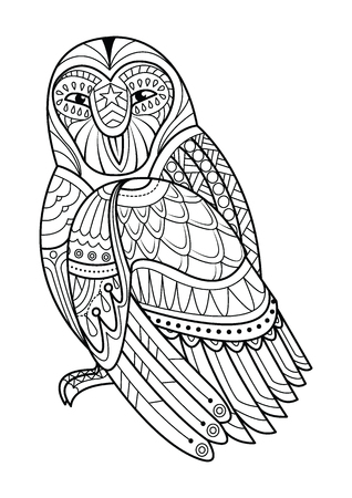 Decorative owl. Adult antistress coloring page. Black and white hand drawn illustration for coloring book. vector illustration. 일러스트