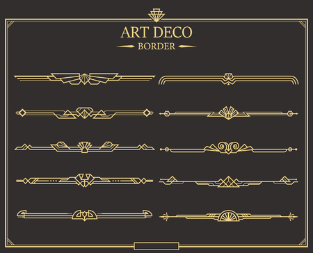 Set of Art deco gold calligraphic page dividers. Vector golden flourishes page decoration vignettes. header and border template in style of 1920s for your design. Çizim