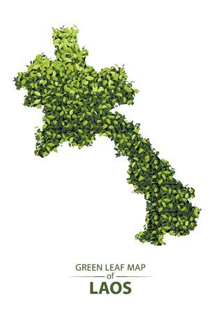 Green leaf map of laos. Vector illustration