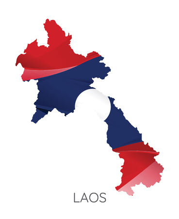 Map Of Laos With Flag As Texture Isolated On white Background. Vector Illustration Illustration