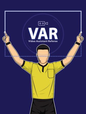El árbitro de fútbol muestra la acción de los árbitros asistentes de video sobre fondo azul. Ilustración vectorial
