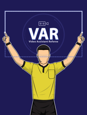 Football referee shows video assistant referees action on blue background. Vector illustration