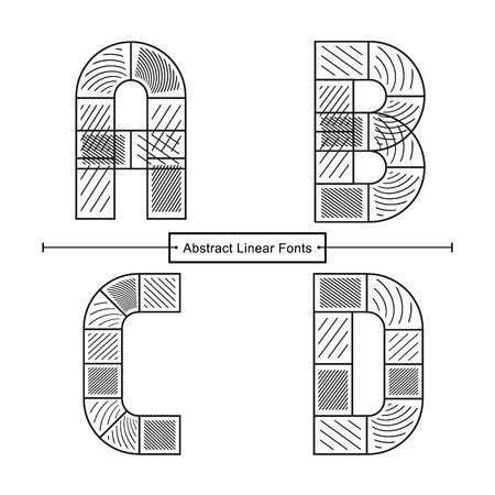 Vector graphic alphabet in a set A,B,C,D, with Abstract black linear font style Ilustração