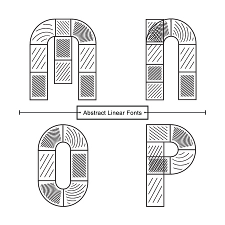 Vector graphic alphabet in a set M,N,O,P, with Abstract black linear font style