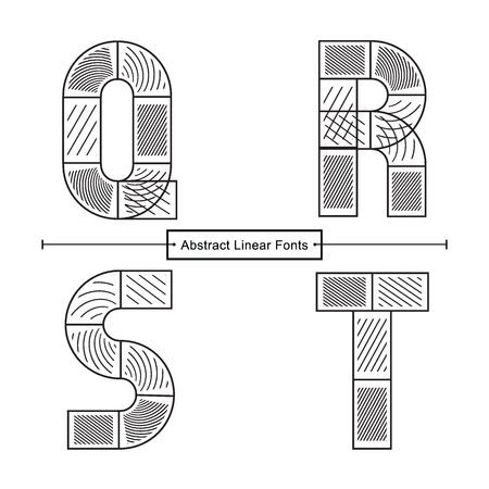 Vector graphic alphabet in a set Q,R,S,T, with Abstract black linear font style Illusztráció
