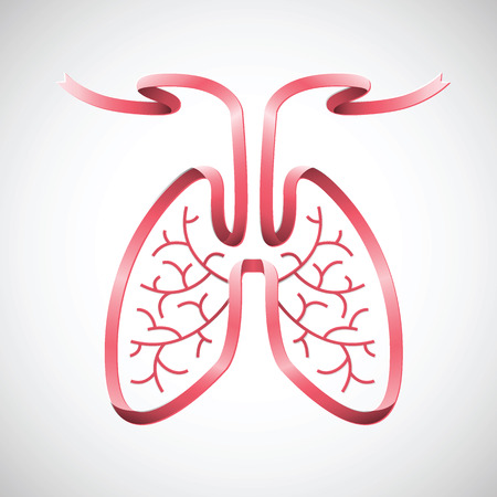 Human lungs illustration in pink ribbon shape color. design with brochure, banner, logo, icon isolated on background. vector illustration.