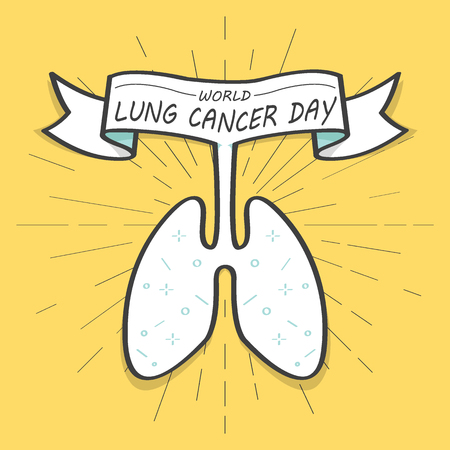 World lungs cancer day and linear drawing of sun rays. Colorful old banner with ribbon, hand-drawn element for design - banners, posters. Vector Illustration