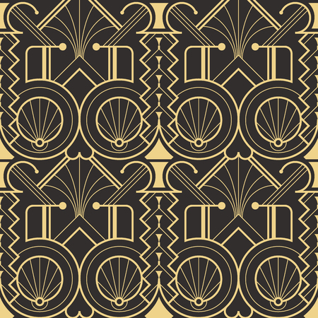 Vector modern geometric tiles pattern. golden lined shape. Abstract art deco seamless luxury background.