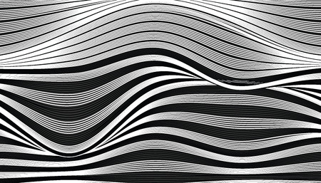 Abstract black and white wave fabric texture. line wavy switch colors style vector illustration.