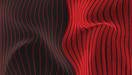 Abstract red and black wave fabric texture. line wavy switch colors style vector illustration. Illustration