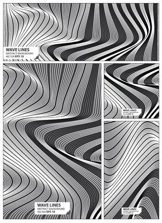 Abstract wave lines pattern set black and white color background. Collection banner design. brochure, card vector illustration. Illustration