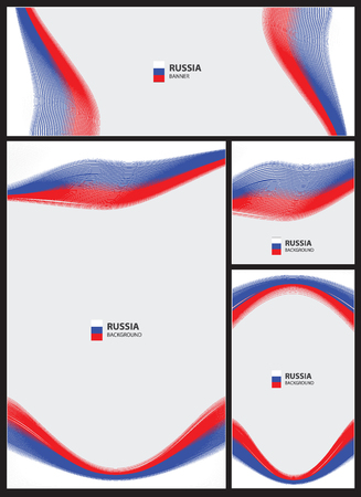 Abstract wave lines pattern set russia flag background. Collection banner design. brochure, card vector illustration.