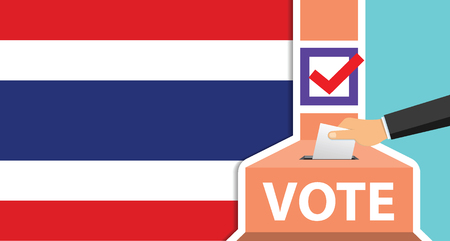Voting. hand putting paper in the ballot box. thailand flag on background. vector illustration. Stock Vector - 119976193