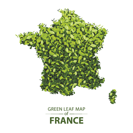 france map made up of green leaf on white background vector illustration of a forest is conceptual of the global green environmental issues worldwide