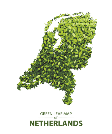 netherlands map made up of green leaf on white background vector illustration of a forest is conceptual of the global green environmental issues worldwide