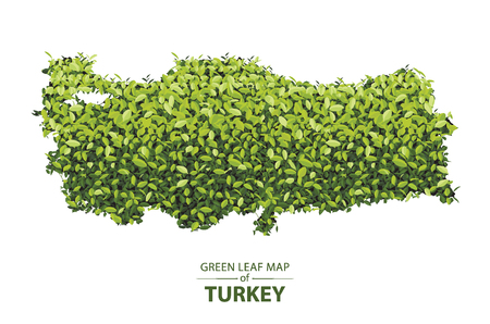 turkey map made up of green leaf on white background vector illustration of a forest is conceptual of the global green environmental issues worldwide