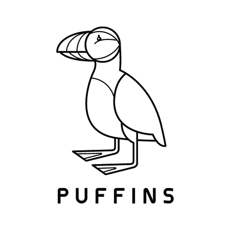 Puffins Logo design vector template Linear style. Bird Logotype concept icon. Banque d'images - 119976210
