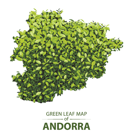 andorra map made up of green leaf on white background vector illustration of a forest is conceptual of the global green environmental issues worldwide Illustration