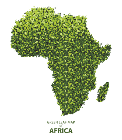 Africa map made up of green leaf on white background vector illustration of a forest is conceptual of the global green environmental issues worldwide Illustration