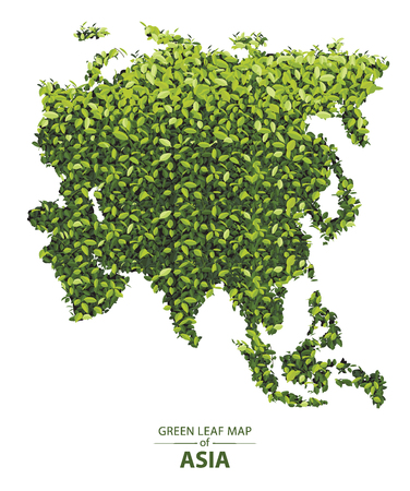 Asia map made up of green leaf on white background vector illustration of a forest is conceptual of the global green environmental issues worldwide