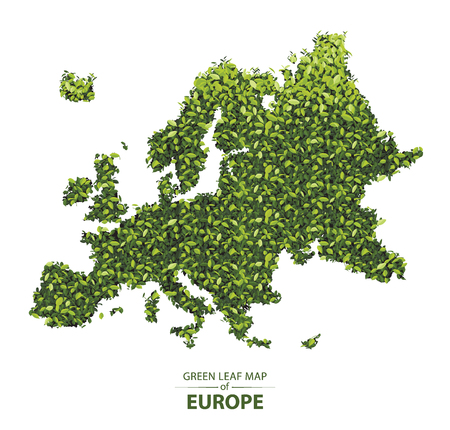 Europe map made up of green leaf on white background vector illustration of a forest is conceptual of the global green environmental issues worldwide