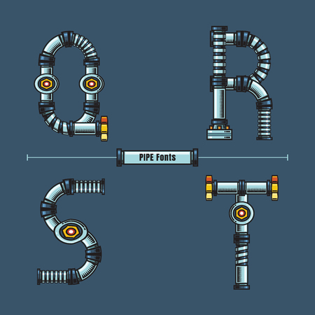 Vector graphic alphabet in a set Q,R,S,T, with Metal pipes comic font style