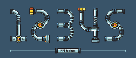 Vector graphic numbersin a set 1,2,3,4,5, with Metal pipes comic font style