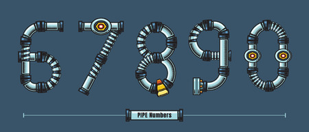 Vector graphic numbersin a set 6,7,8,9,0, with Metal pipes comic font style