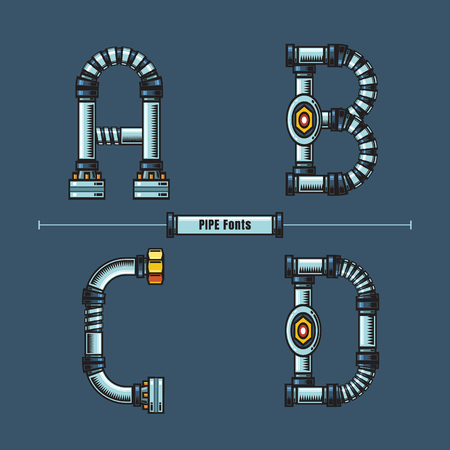 Vector graphic alphabet in a set A,B,C,D, with Metal pipes comic font style